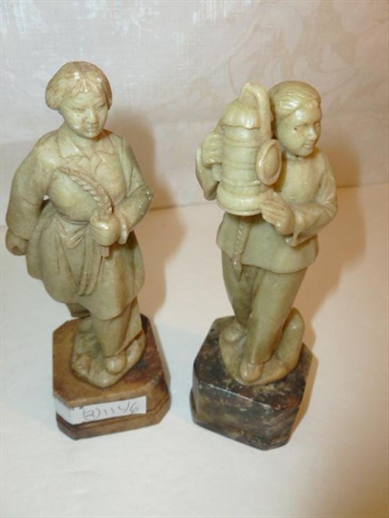 2 pc soap stone- man and women oriental style
