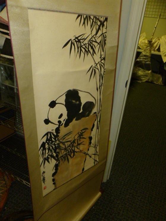 Chinese scroll of Panda's 35 by 16 3/4