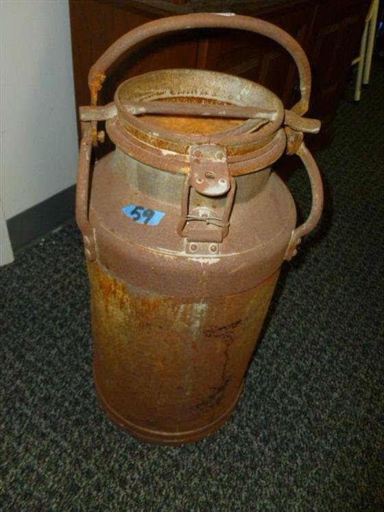 Old iron milk can with top-23 tall--#2269