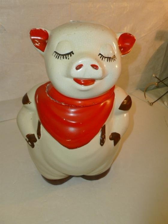 Smiley Pig cookie jar red with brown feet-USA