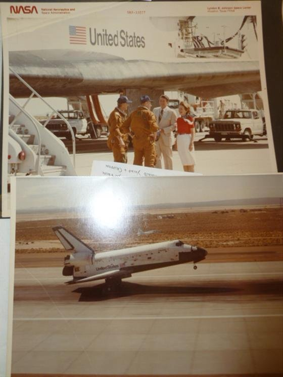 2 photos- STS-1 Columbia- Pres. Reagan