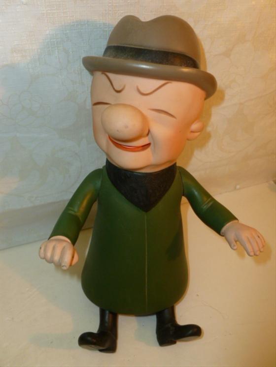 Mr. McGoo hard rubber posable doll- green coat tan hat-
