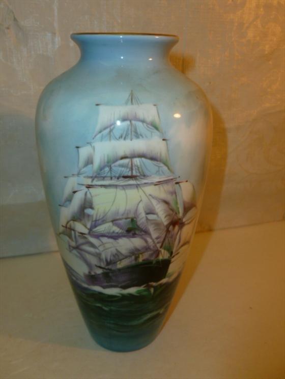 Porcelain vase-Noritake Nippon Toki -sailing ship on  f