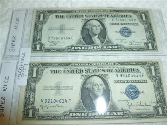 2 Super nice $1.00 Silver certificates-1935 B and D
