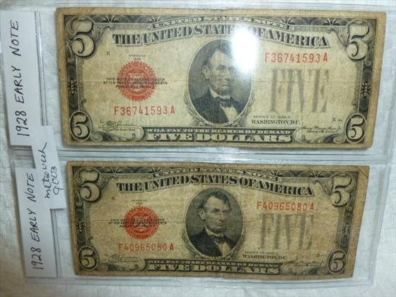 2 early $5.00 notes-red seal