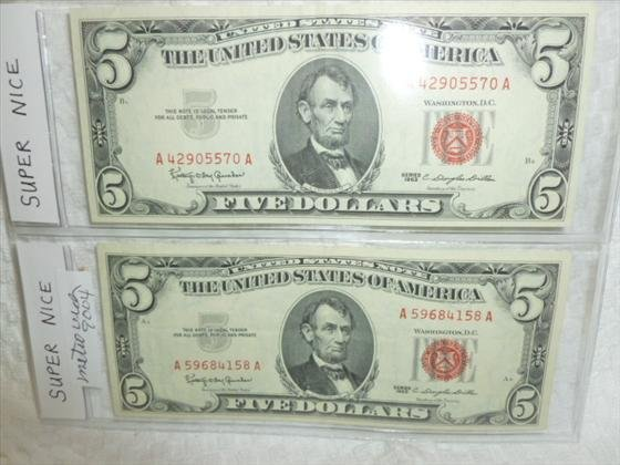 2 Super Nice $5.00 notes- red seal-1963 series