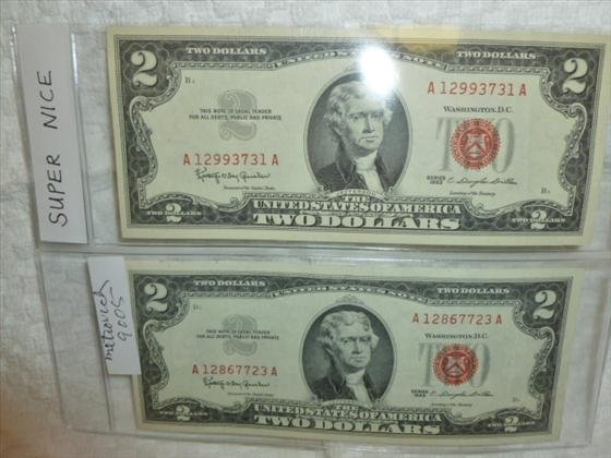 2 Super nice $2.00 notes red seal-series 1963