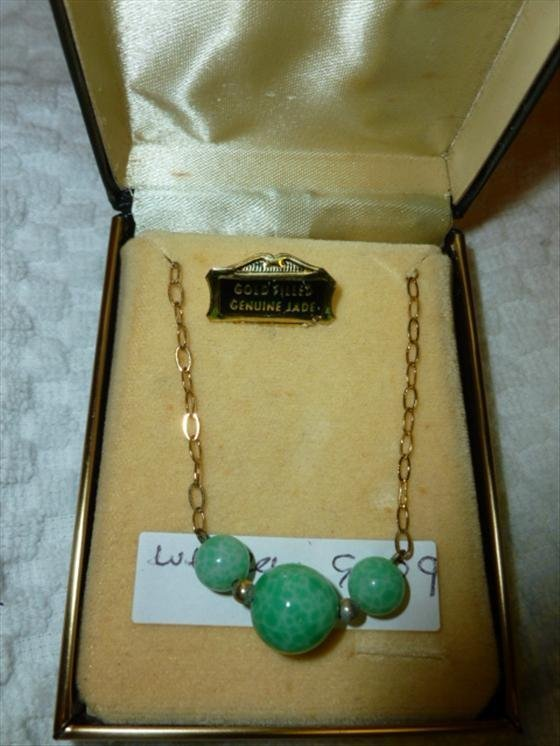 Gold filled and genuine Jade necklace in box-3 Jade bea