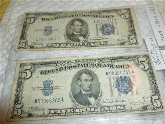 2 Early $5.00 notes blue seal-1934B and C