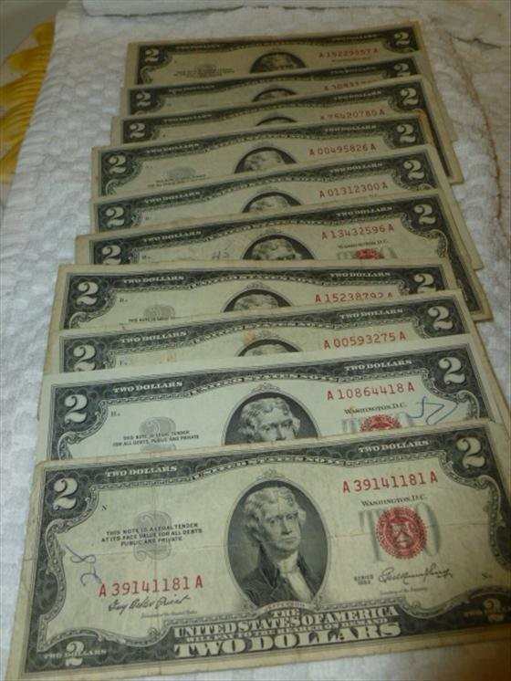 10 Old $2.00 bills-red seal-1953-1953C-1963