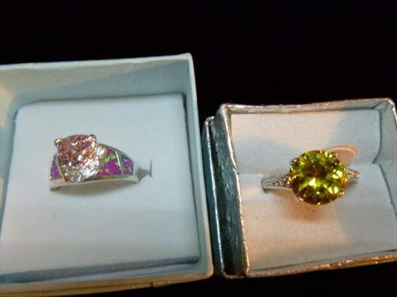 2 Ladies 925 Silver rings-Genuine Canary Topaz and Pink