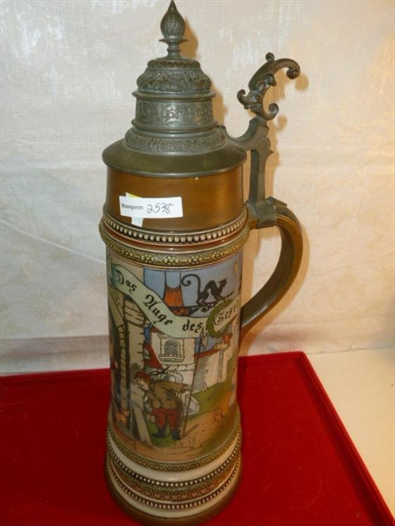 2 Liter stein made in Germany with pewter top marked HR