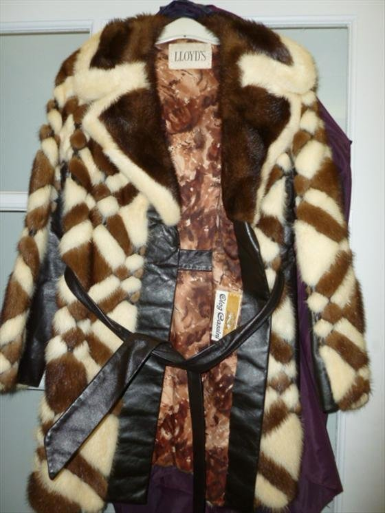 Lloyd's leather and mink jacket-with belt brown and whi