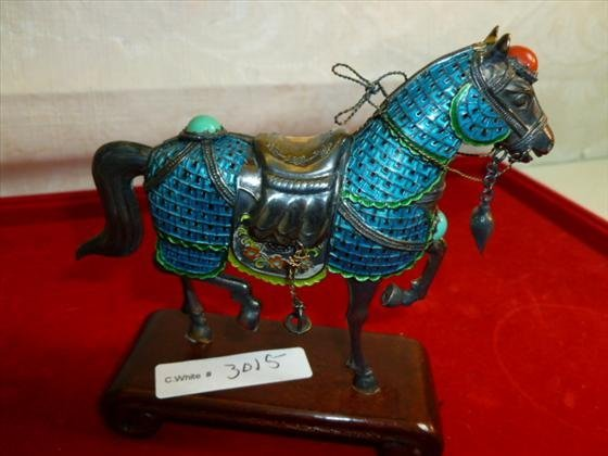 925 silver horse marked- with aqua and orange turquoise