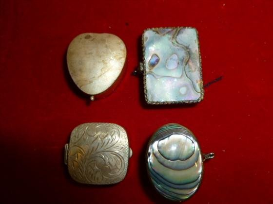 4 small pill case size Sterling Silver boxes etched sto