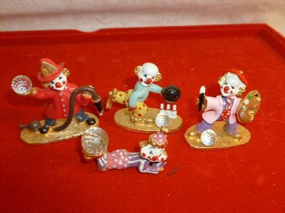4 pewter and gold plated Spoontiques clown figures with
