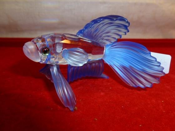 Swarovski crystal Beta fish with blue satin fins and ta