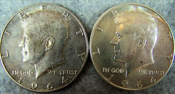 Two 1964 Kennedy Silver Half Dollars