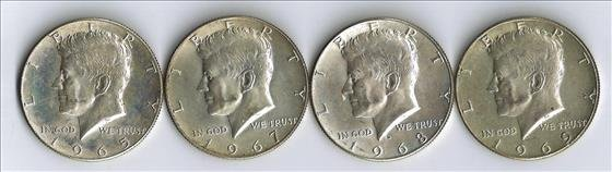 Four Kennedy 40% Silver Half Dollars