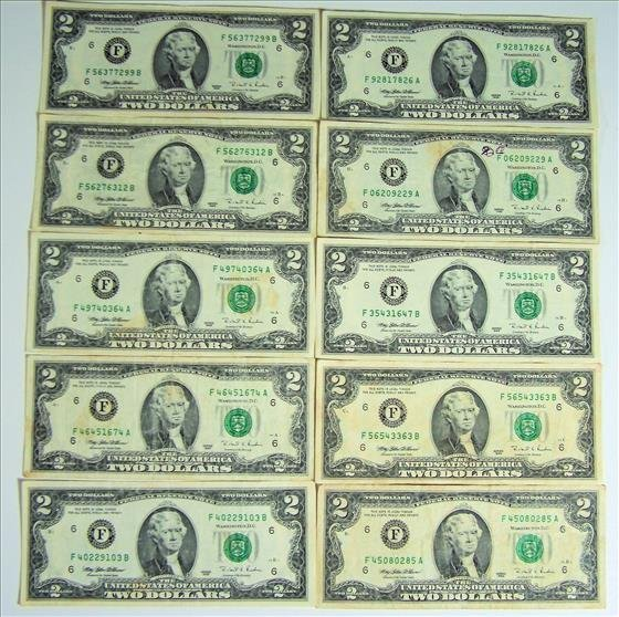 Ten 1995 $2 Green Seal FRN