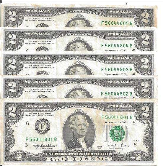 Five Sequentially Numbered 1995 $2 Bills