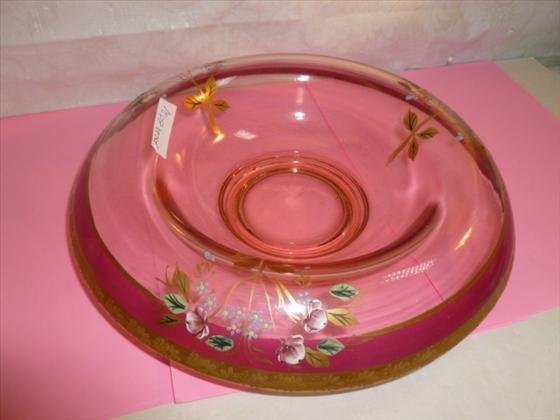 Vintage Pink glass round hand painted fruit bowl gold