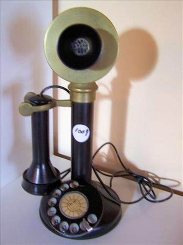 Antique candlestick telephone- black and brass dial-