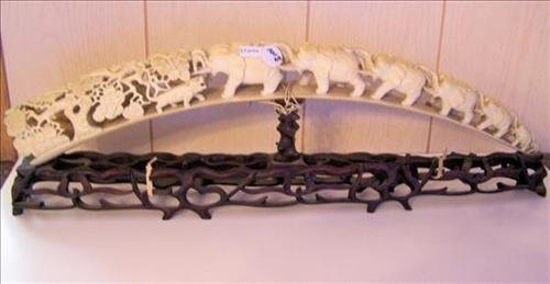Ivory?-7 Elephants on bridge-carved flowers with 3