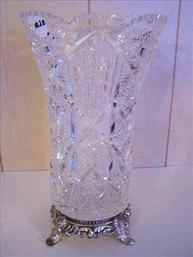Large hand cut crystal vase saw tooth rim on metal