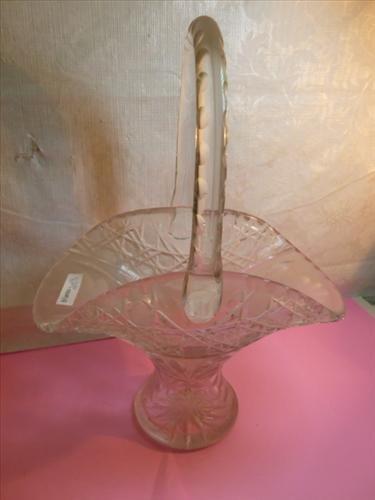 Cut crystal basket 14 tall- star and criss cross design