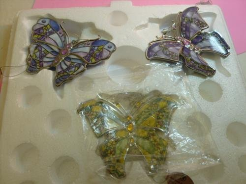 3 pc Butterflies- w/COA- Jeweled Orchid-Purple