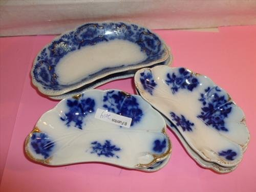 Antique flow blue bone dishes-6 pc-Ridgeway