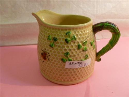 Occupied Japan creamer- bee hive design green handle