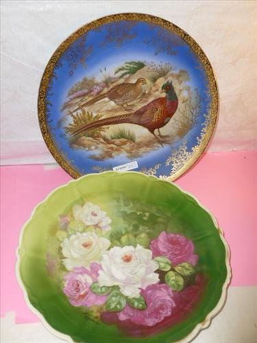 2 lg hand painted porcelain plates- ST Bavaria Germany