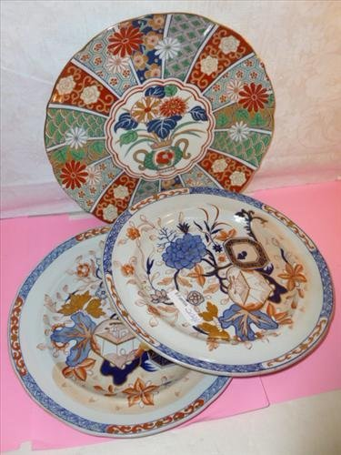 3 porcelain oriental style plated in blue orange and