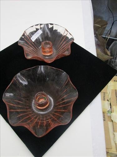 Pair of coral Pink depression glass ruffled round
