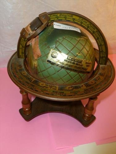 Beam bottle decanter- in shape of world globe in stand-
