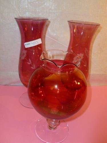 3 pc cranberry flashed vases plain and etched- 8-10