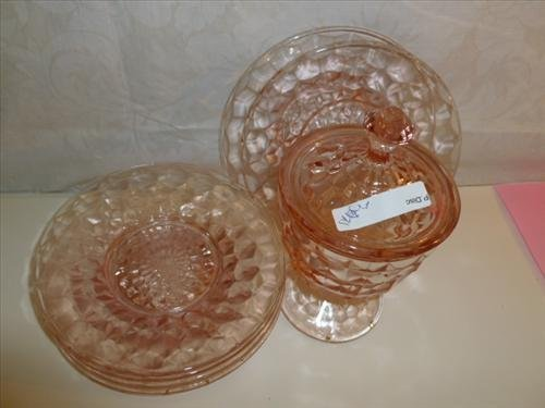 """7 pc pink depression glass 6"""" plates and covered"""