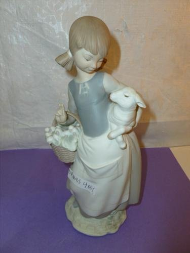 LLadro figure- girl with lamb & flower basket 10 tall-