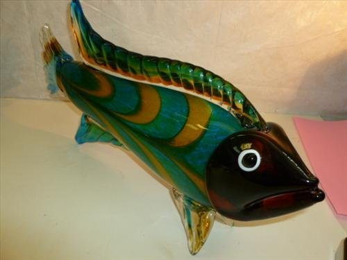 Large Murano glass fish standing on fins green aqua and