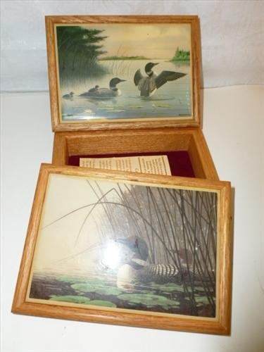2 wood dresser boxes- with hand painted stone tile tops