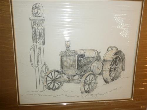 Chalk picture John Deer misspelled tractor and gas pump