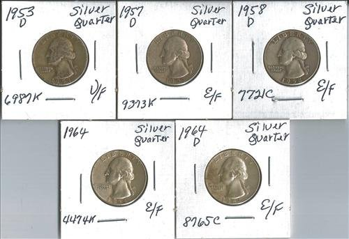 Five Washington Silver Quarters