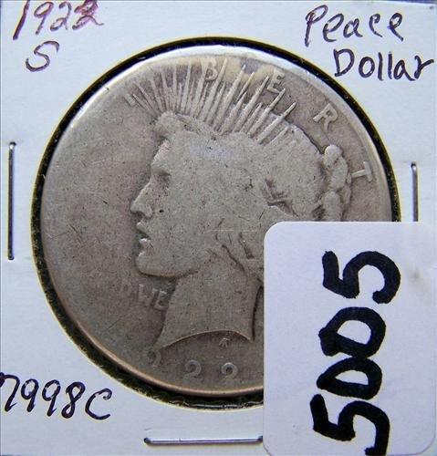 1922S Peace Silver Dollar