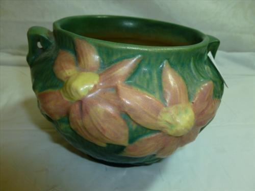 Roseville  pottery green handled bowl #667-4