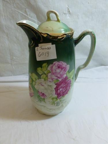 Unmarked Austrian style chocolate pot gold trim pink