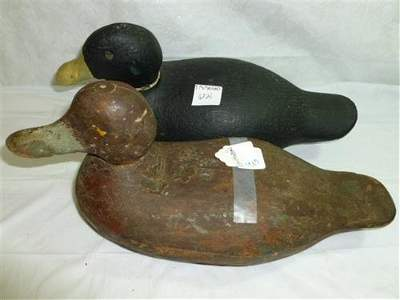 2 wood decoy ducks hand carved-missing eyes- brown and