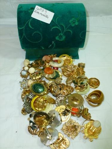 Box full assorted costume jewelry-earrings of every