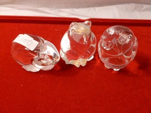 3 crystal etched Stuben glass animals-bear owl and